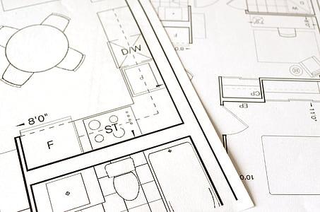 planta, Pla, casa, casa, construcció, dibuix, arquitectura