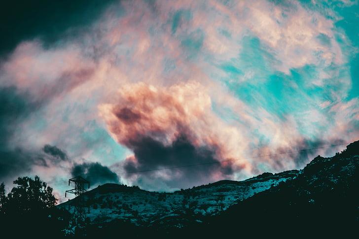 taivas, pilvet, värit, maisema, pilvet taivas, Sky pilvet, Sinitaivaan pilvet