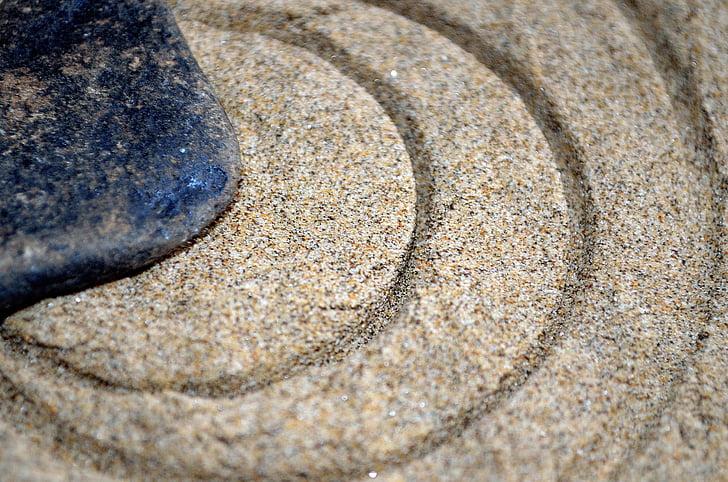 pedra, sorra, cercle, cercles, macro, símbol, fons