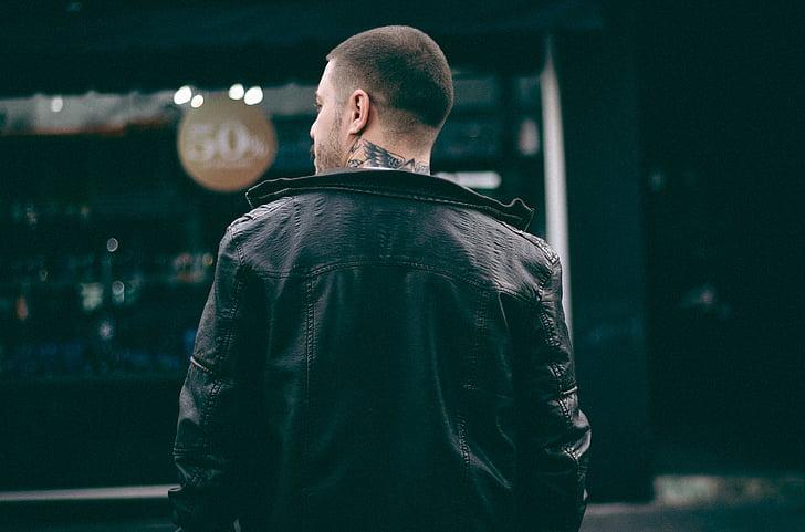 tatuatge, persones, home, cuir, jaqueta, negre, moda