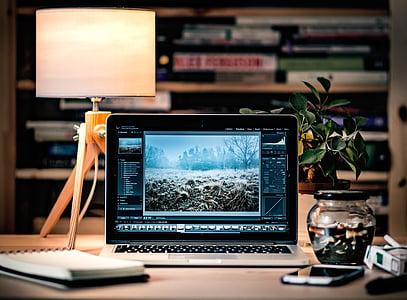 Adobe Photoshop, apple, desk, desktop, laptop, macbook, mockup