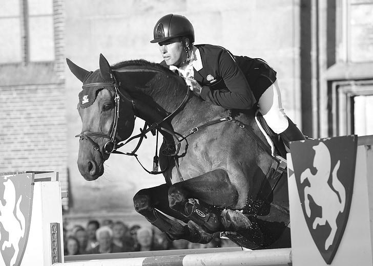 cavall, home, salt, Hípica, cavall de salt, blanc de negre, llunes