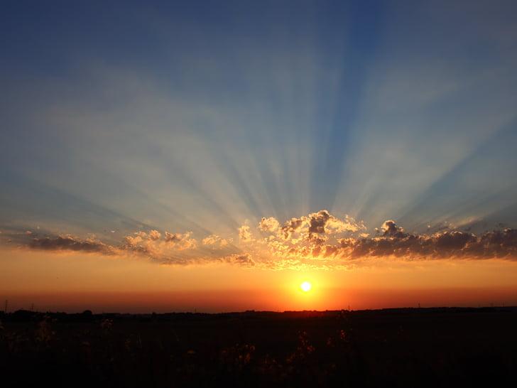 sunset, evening, sky, the sun, landscape, twilight, scenery