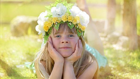 lidské, dítě, Děvče, obličej, pokrývka hlavy, Blondýna, dítě květin