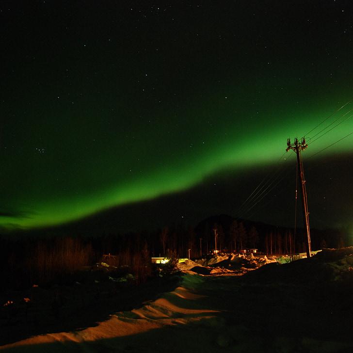 đèn phía bắc, mùa đông, Aurora borialis, bầu trời, đêm