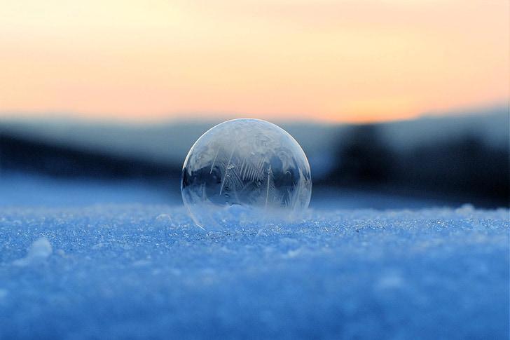 burbuja de jabón, congelados, burbuja congelada, invierno, eiskristalle, invernal, frío