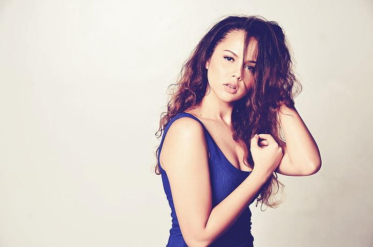 femella, dona, bellesa, headshot, atractiu, del Caucas, cabell