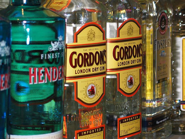 Ginebra, l'alcohol, botiga, alcohòliques, ampolles de vidre, esperit, venda