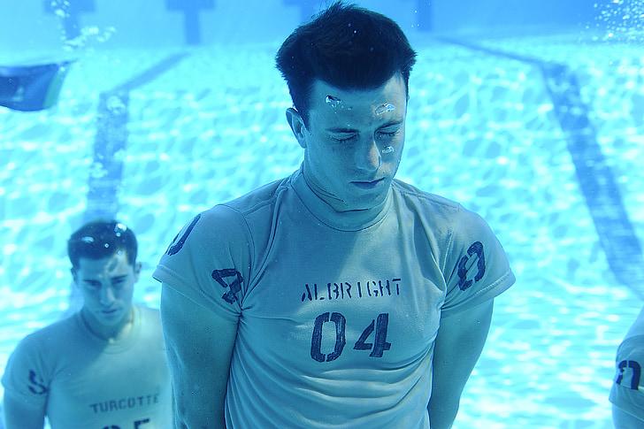 baseinas, vandens, vyrai, po vandeniu, turintis kvėpavimą, mokymo, kintama