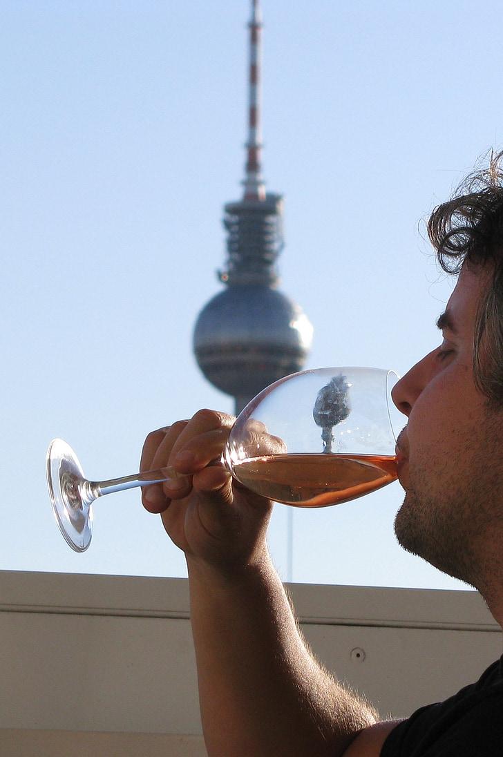 mees, joomine, veini, klaas, Berliin, Saksamaa, Fernsehturm
