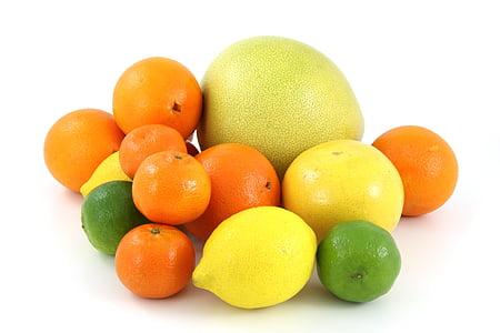 assortit, fruites, fruita, aliments, cítrics, aranja, aranja