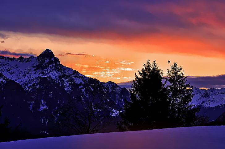 landscape, mountains, sunrise, lighting, morning, winter, snow
