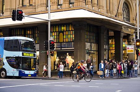 promet, svjetlo na semaforu, grad, ulica, prometnice, pješačke, prijelaz
