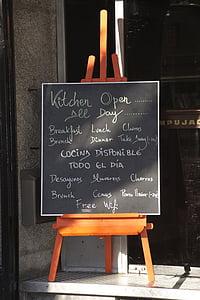 menu, slate, bar, restaurant, food