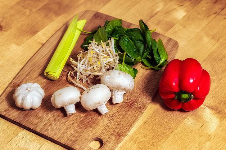 skärbräda, mat, färsk, ingredienser, purjolök, champinjoner, paprika
