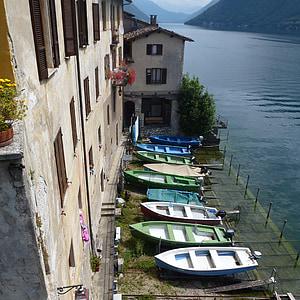 рибальські човни, gandria, регіоні Ticino, Швейцарія, рибальське село, Банк, озеро