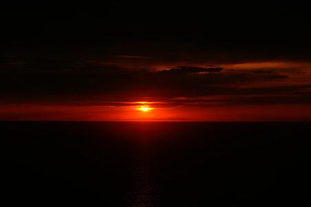 sončni zahod, somrak, obzorje, Sredozemsko morje, Seascape, večer, ob morju