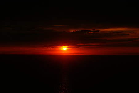 coucher de soleil, Twilight, horizon, mer Méditerranée, paysage marin, soirée, bord de mer