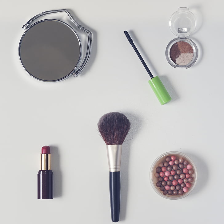 cosmetics, powder, lipstick, cosmetic brush, rearview mirror, eyeshadow, powder in the balls