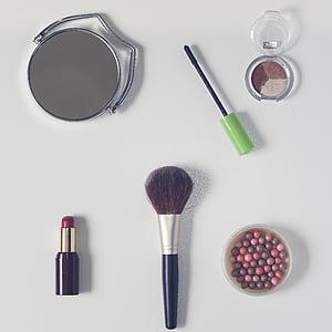 cosmètica, pols, llapis de llavis, raspall estètica, mirall retrovisor, ombra d'ulls, pols en les boles