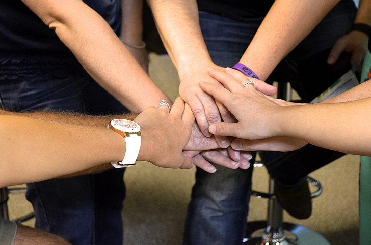 team, together, hands, joined, prayer, all in, pray
