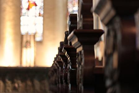 bancs de l'església, bancs, altar, l'església, cristiana, vell, seure