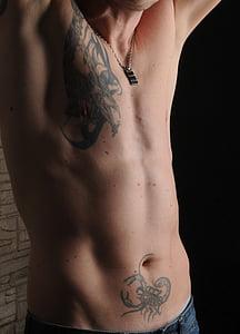 home, cos, tatuat, mascle, nu, tors masculí, Uvas