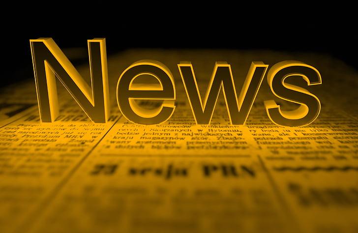 Новости, желтый, Газета, 3D, рендеринг