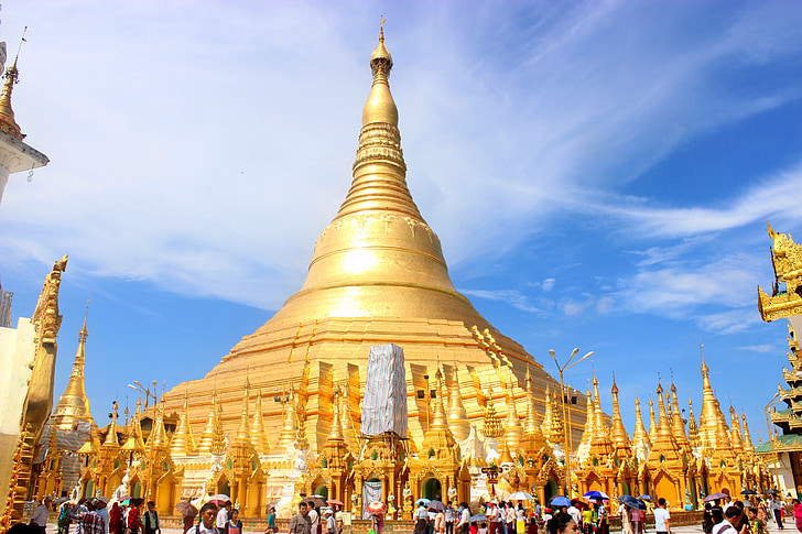 shwedagon pagoda, Pagoda, Mjanmarsko, Ázia, budhizmus, shwedagon, Barma