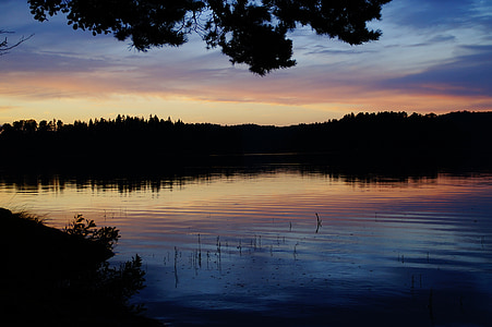 abendstimmung, 일몰, 호수, 스웨덴, förjön 호수, 짧은 서사시, 저녁 하늘