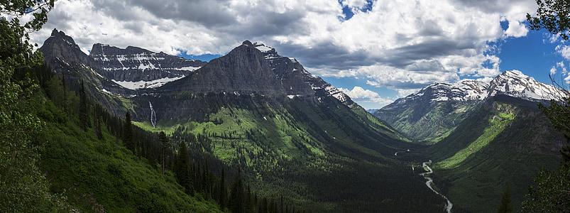 muntanyes, Vall de McDonald s, passar per alt, paisatge, escèniques, natura, pics