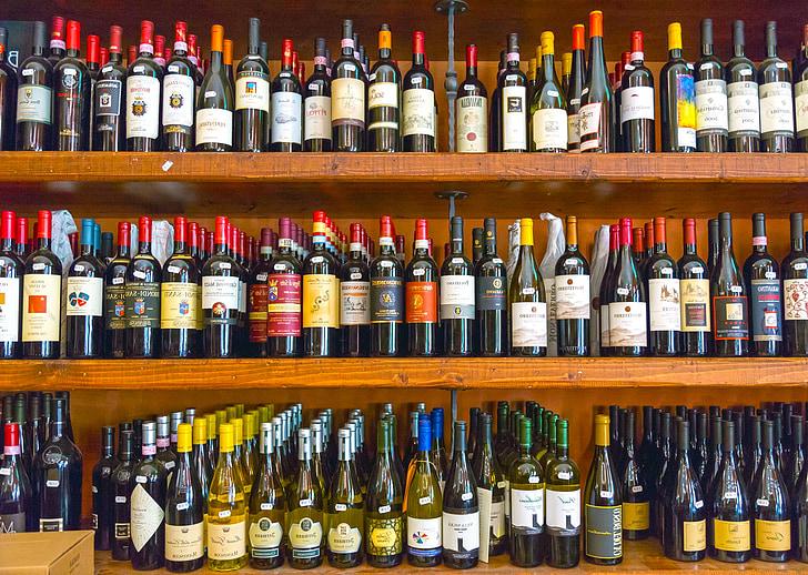 bor, üveg, alkohol, polc, fa, pince, palackok