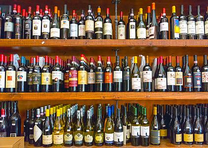 veini, pudel, alkoholi, riiul, puit, kelder, pudelid