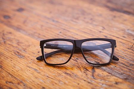 occhiali da vista, occhiali, tavolo, in legno, occhiali da sole, vista, legno - materiale
