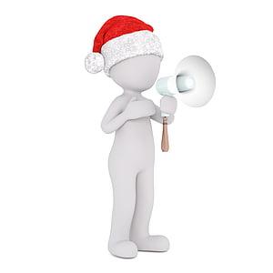 blanc mascle, 3D model, tot el cos, barret de santa 3D, Nadal, barret de Santa, 3D