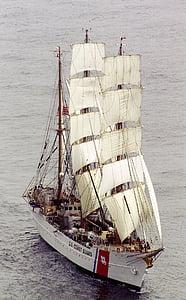 ship, cutter, three masted, barque, full sail, water, coast guard