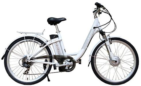 elektrisko, e-bike, velosipēds, balta, fons, velosipēdu, rats