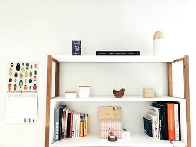mobles, disseny d'interiors, minimalista, sala, prestatges, Gerro, Habitació interior