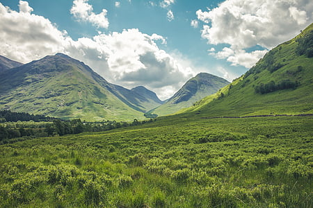 fjell, landskapet, eng, natur, skyer himmelen, grønn, fjell-landskap