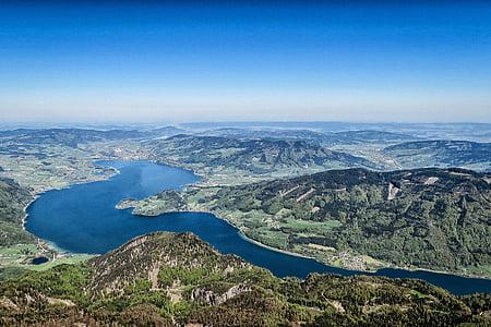 aerial view, bird's eye view, daylight, foliage, forest, hills, horizon