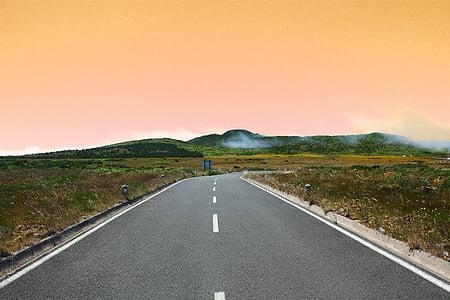 asfalt, herba, turons, carretera, cel, posta de sol, viatges