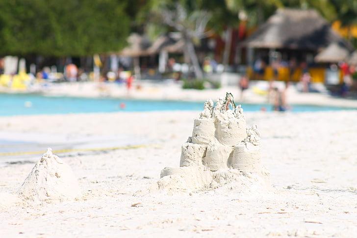 pesek, bel pesek, poletje, Beach, peščeni grad, peščena plaža, fancy pecivo