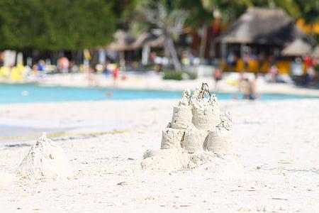 Sand, valkoista hiekkaa, kesällä, Beach, hiekkalinna, hiekkaranta, fancy kakkuja