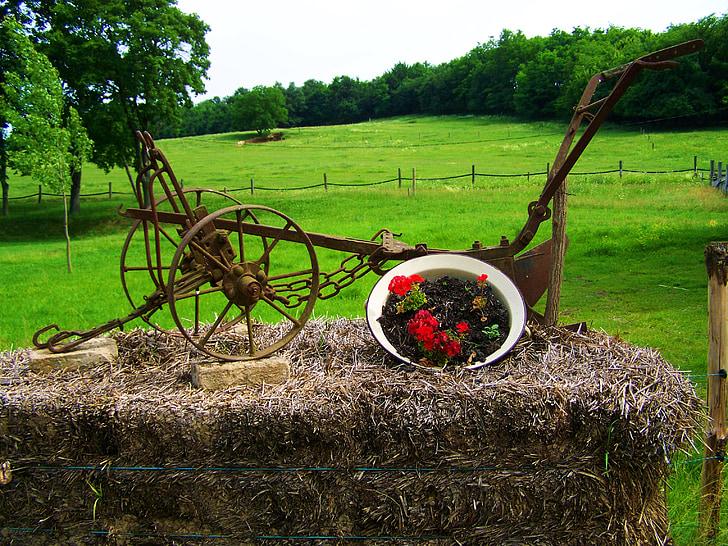 gamle vaseke, gamle pløye verktøyet, Garden ornamenter, natur, landbruk
