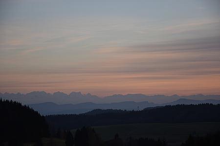 Alpina, pôr do sol, montanhas, céu, céu da noite, noite, arrebol