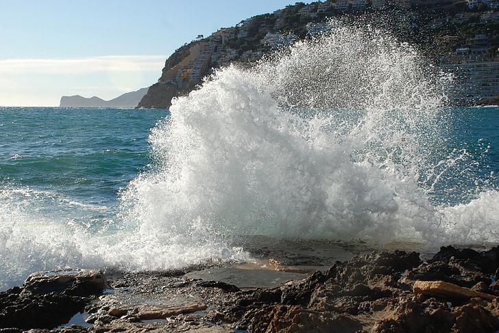 tenger, spray, tengerpart, sziklák, Mallorca, óceán, hullámok