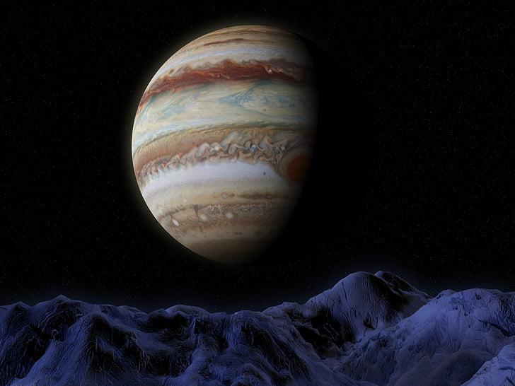 Jupiteris, Ganymede, vietos, Astronomija, Mokslas, mėnulis, planetos