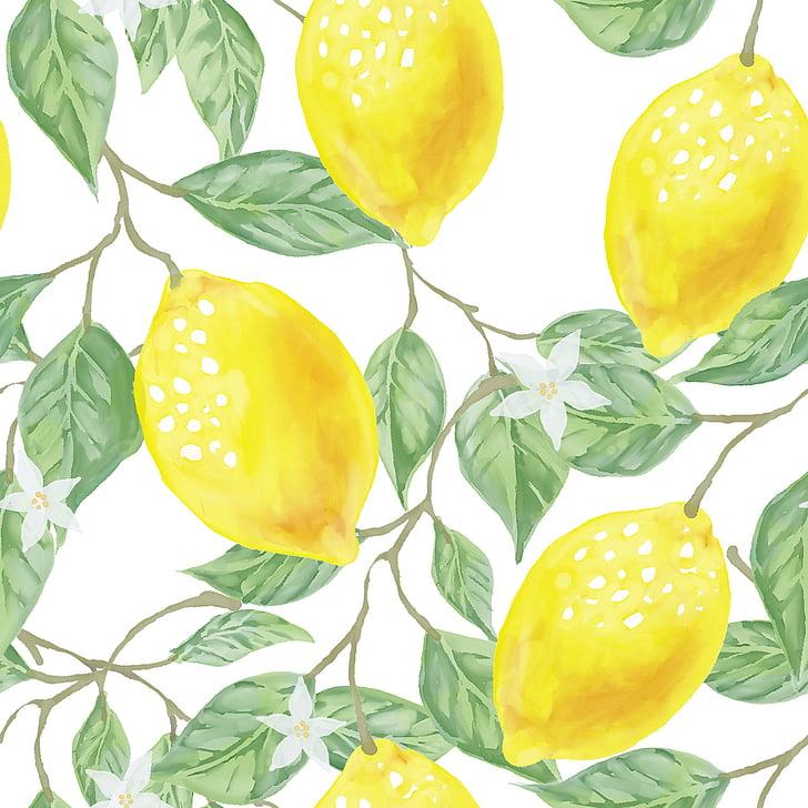 tekstil, kain, daun, hijau, kuning, lemon, buah