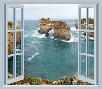 maison en bord de mer, océan, vague, Surf, Rock, cadre, fenêtre de