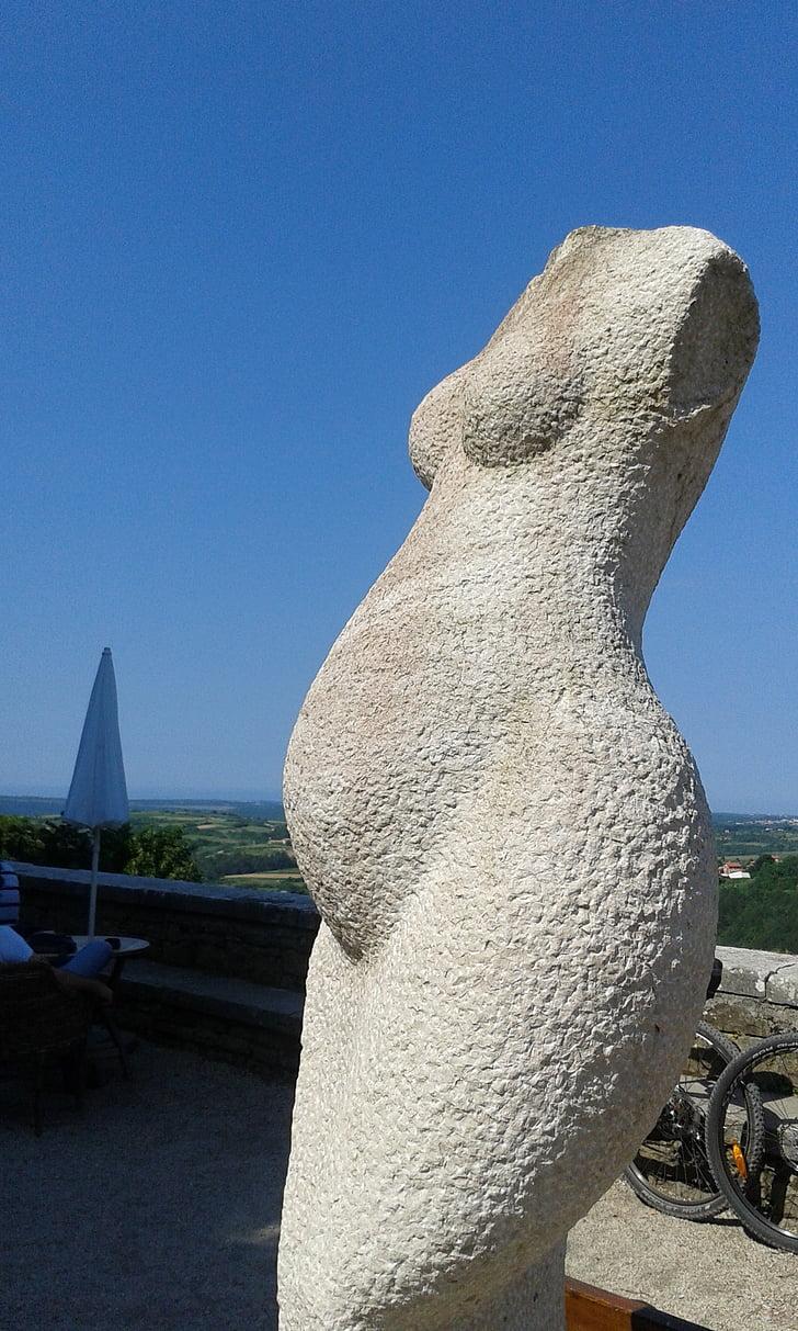 Art, pedra, embarassada, escultura, tors, Croàcia